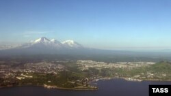 An aerial view of the city of Petropavlovsk-Kamchatsky