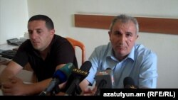 Armenia -- Gevork Alekian (L) and Hovsep Simonian, local leaders of the Armenian Revolutionary Federation, at a press conference in Gyumri, 30Jul2012.
