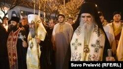 Митрополит Онуфрій (л) і митрополит Амфілохій (п) на чолі акції протесту, Подгориця, 27 лютого 2020 року