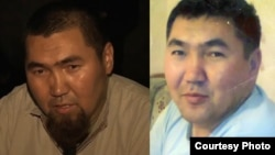 Purported 28-year-old Kazakh jihadist Maqsat Aimakhanov shown left in a video allegedly shot in Syria and right before leaving Kazakhstan.