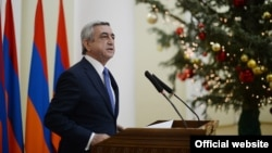 Armenia -- President Serzh Sarkissian speaks at a New Year reception for journalists, Yerevan, 26Dec2014
