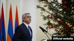 Президент Армении Серж Саргсян на встрече с журналистами