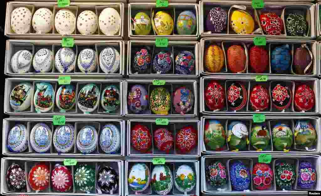 Traditional Easter eggs are displayed at a stand on Prague's Wenceslas Square. (Reuters/Petr Josek)