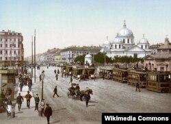 Санкт-Петербург. Невский проспект. Вид на Знаменскую церковь. 1896