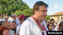 Бывший президент Грузии Михаил Саакашвили в укранской вышиванке. Одесса, 24 августа 2015 года.