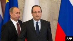 Рускиот претседател Владимир Путин и францускиот претседател Франсоа Оланд