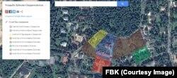 Подготовленная Фондом борьбы с коррупцией схема земельных участков, принадлежащих семье Сердюковых – Зубковых