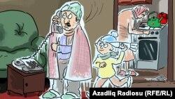 """""""Qaz olmayanda..."""". Karikatura. Gündüz Ağayev."""