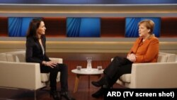 Germany, Angela Merkel and Anne Will, interview for ARD TV