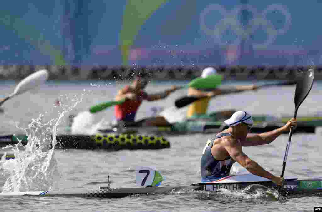 Britain's Liam Heath competes in the men's kayak singles competition over 200 meters.