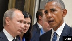 Russian President Vladimir Putin (left) met with U.S. President Barack Obama during a meeting on the sidelines of the G20 summit in China on September 5.