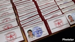 Armenia - ID cards of new members of the ruling Republican Party of Armenia.