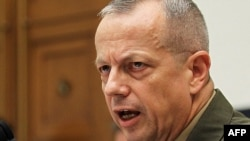 The commander of the International Security Assistance Force, U.S. Marine General John Allen, testifies before the House Armed Services Committee on recent events in Afghanistan, Washington, D.C., on March 20