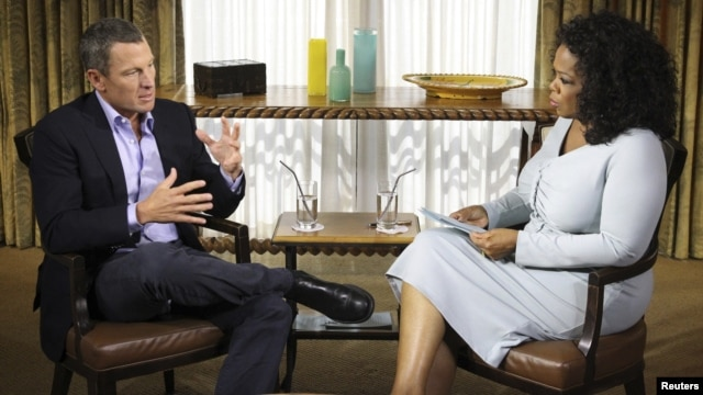 Disgraced American cyclist Lance Armstrong appears in a promotional image ahead of the broadcast of his interview with Oprah Winfrey on January 17.