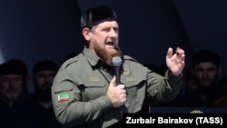 Chechen leader Ramzan Kadyrov addresses a rally in Grozny expressing support for the Rohingya Muslim minority in Burma on September 4.