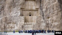 Tomb of Darius the Great in Naqsh-e Rustam, an ancient necropolis located about 12 km northwest of Persepolis, in Fars Province, Iran.