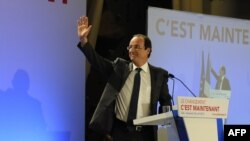 Франсуа Олланд шайлоонун алдын ала жыйнтыктары белгилүү болгондон кийин тарапкерлерине кайрылды, 22-апрель, 2012-жыл