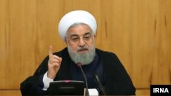 President Hassan Rouhani Delivering his speech giving a 6-day deadline to world powers on the nuclear issue. May 8, 2019
