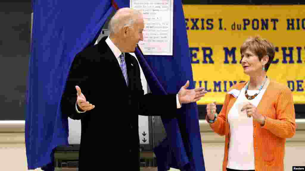 Vice President Joe Biden emerges from a voting booth after casting his ballot in Greenville, Delaware.