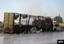 Остатки уничтоженного 19 сентября конвоя ООН