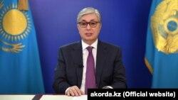 Ղազախստանի նախագահի պաշտոնակատար Քասիմ-Ժոմարտ Տոկաևը հանդես է գալիս տեսաուղերձով, 9-ը ապրիլի, 2019թ․