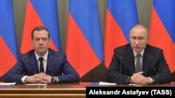 Дмитрий Медведев и Владимир Путин. Москва, 19 декабря 2016 года.