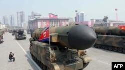Северокорейские баллистические ракеты на параде. Пхеньян, 15 апреля 2017 года.