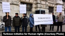 Türkmen aktiwistleriniň Wenada protest geçirýän pursatlary. 27-nji fewral, 2014.