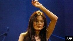 Serbian turbofolk singer Svetlana Raznatovic performing in Skopje in 2005.