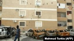 Одне з передмість Тріполі, щойно відбите силами УНЗ у армії Хафтара. 9 травня 2020 року