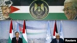 Генералниот секретар на ОН Бан Ки Мун и палестинскиот претседател Махмуд Абас