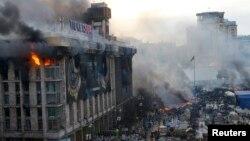 Ուկրաինա - Կիևի Անկախության հրապարակը՝ Եվրոմայդանը այսօր վաղ առավոտյան