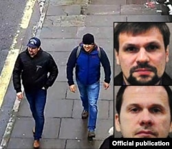 Two men believed to be GRU agents, Aleksandr Petrov (aka Anatoly Chepiga, top inset) and Ruslan Boshirov (aka Aleksandr Mishkin, bottom inset), were caught on CCTV in Salisbury on the same day the Skripals were poisoned.