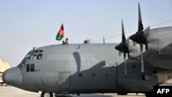 A C-130 transport aircraft at Kabul international airport.
