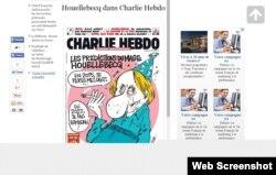 "Michel Houellebecq-in karikaturası ""Charle Hebdo""nun son sayının üz qabığında (www.linternaute.com)"