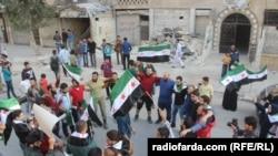 Демонстрація в Алеппо проти завершення «гуманітарної паузи» щодо припинення вогню, Сирія, 22 жовтня 2016 року