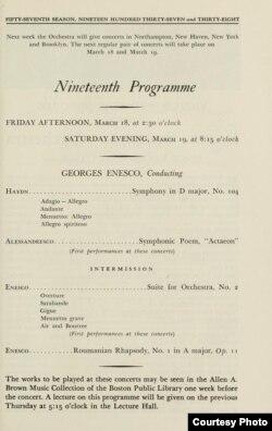 Pagină din programul concertului dirijat de Enescu la Boston la 18 martie 1938