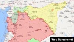 Карта Сирии на 25 апреля 2019 г. с сайта syria.liveumap.com. Цветами обозначена расстановка сил (красный – Асад, желтый – курды, светло-зеленый на севере – Турция, темно-зеленый – оппозиция)