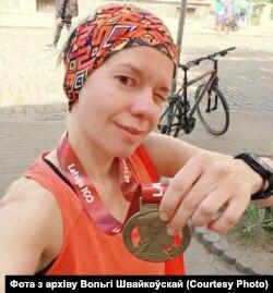 Вольга Швайкоўская падчас маратону ў Рызе ў 2018 годзе