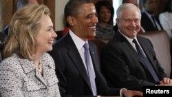 Хиллари Клинтон, Барак Обама жана Роберт Гейтс. 3-май, 2011-жыл