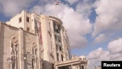Здание в сирийском городе Алеппо, повреждённое при сегодняшнем взрыве, 10 февраля 2012 г.