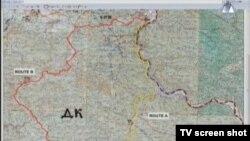 Žuto označen put do Beograda, karta prikazana u sudnici