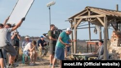 A scene during the shooting of the film Crimean Bridge: Made With Love!