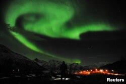 Aurora shihet në Norvegji, 15 janar. (Reuters/Rune Stoltz Bertinussen/Scanpix)