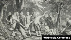 «Мирабо прибывает в Элизиум». В центре - герцог Мирабо вручает Жан-Жаку Руссо текст французской конституции. Бенджамин Франклин венчает его лавровым венком. Справа - Демосфен и Цицерон. В лодке - Харон, доставивший Мирабо на тот свет. Гравюра по рисунку Жан-Мишеля Моро. 1791.