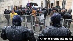 Detalj iz Zagreba sa protesta protiv posete Aleksandra Vučića