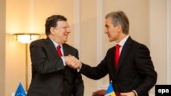 Жозе Мануэль Баррозу и Юрие Лянкэ, Кишинев, 12 июня 2014