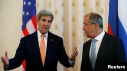 U.S. Secretary of State John Kerry and Russian Foreign Minister Sergei Lavrov meet in Moscow on July 15.