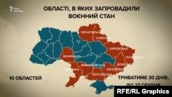 Мапа на Украина, при што областите во кои е прогласена воена состојба се обележани со црвена боја.