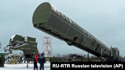 Russia's Sarmat intercontinental missile is shown off to media at an undisclosed location in Russia on March 1, 2018.